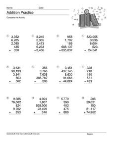 Addition Practice Worksheet