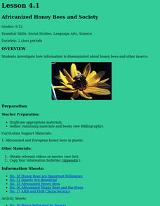 Africanized Honey Bees And Society Lesson Plan