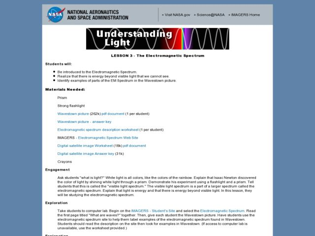 Understanding Light:  Lesson 2 - The Electromagnetic Spectrum Lesson Plan