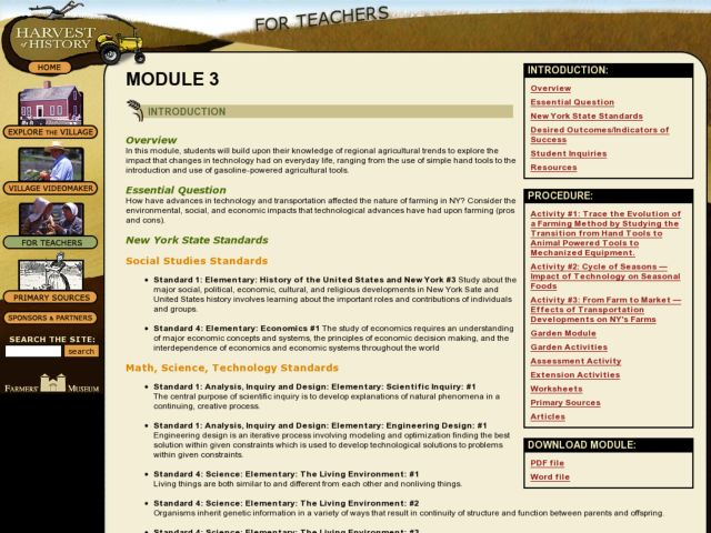 Farming In New York State - Module 3 Lesson Plan