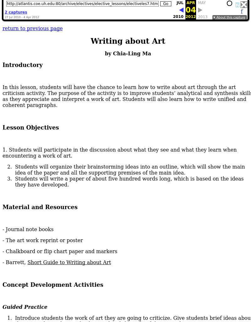 Writing About Art Lesson Plan