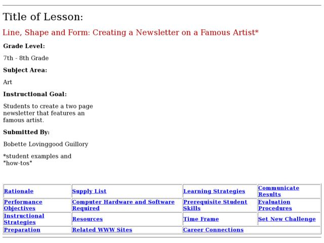 Line, Shape and Form: Creating a Newsletter on a Famous Artist Lesson Plan