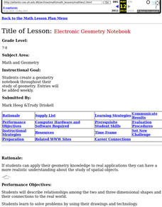 Electronic Geometry Notebook Lesson Plan