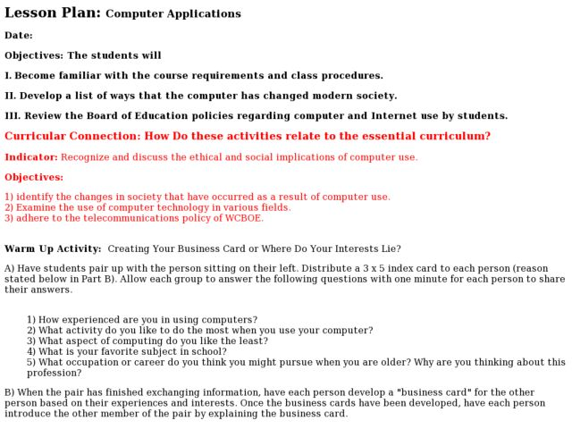 Computer Applications - 6 Lesson Plan