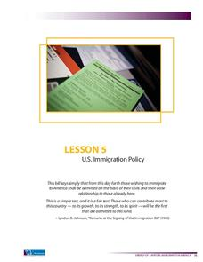 U.S. Immigration Policy Lesson Plan
