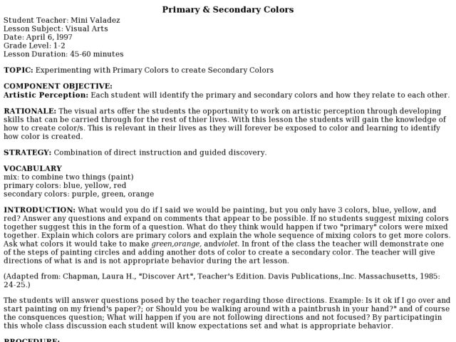 Primary & Secondary Colors Lesson Plan