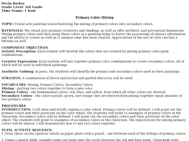 Primary Color Mixing Lesson Plan