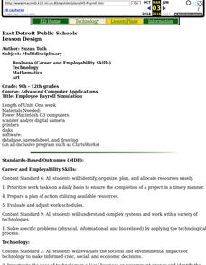 Payroll Spreadsheet Lesson Plans & Worksheets Reviewed by
