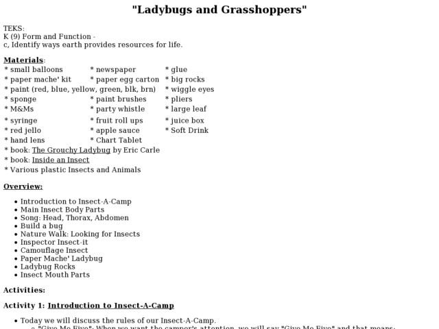 """Ladybugs and Grasshoppers"" Lesson Plan"