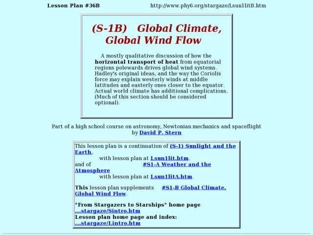 (S-1B)  Global Climate, Global Wind Flow Lesson Plan