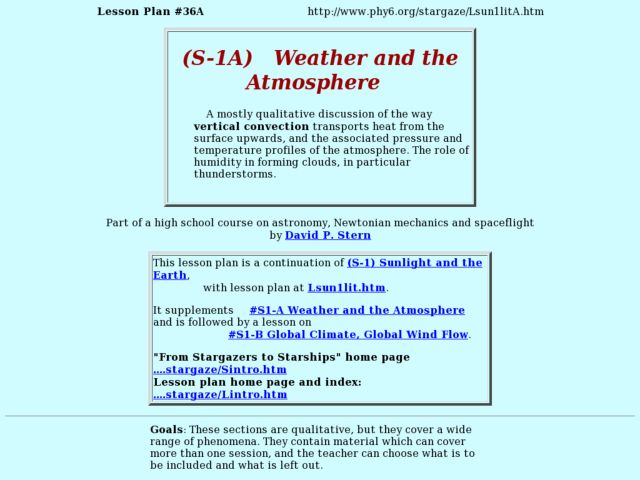 (S-1A)  Weather and the Atmosphere Lesson Plan