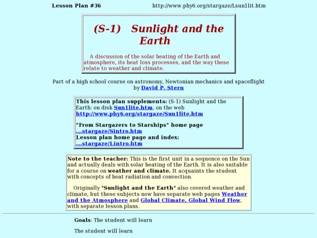 (S-1)  Sunlight and the Earth Lesson Plan