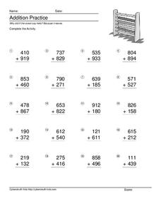 Addition Practice: Adding 3-Digit Numbers #3 Worksheet