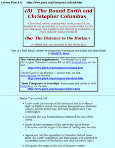 The Round Earth And Christopher Colombus Lesson Plan