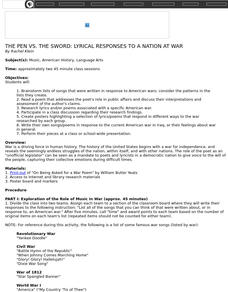 THE PEN VS. THE SWORD: LYRICAL RESPONSES TO A NATION AT WAR Lesson Plan