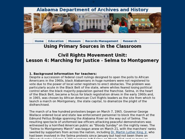 Lesson 4:  Marching for Justice - Selma to Montgomery Lesson Plan