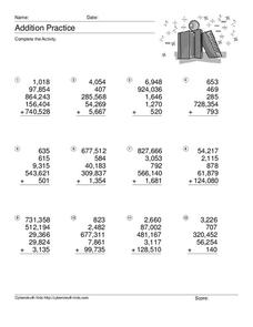 Addition Practice: Adding 5 Numbers #2 Worksheet