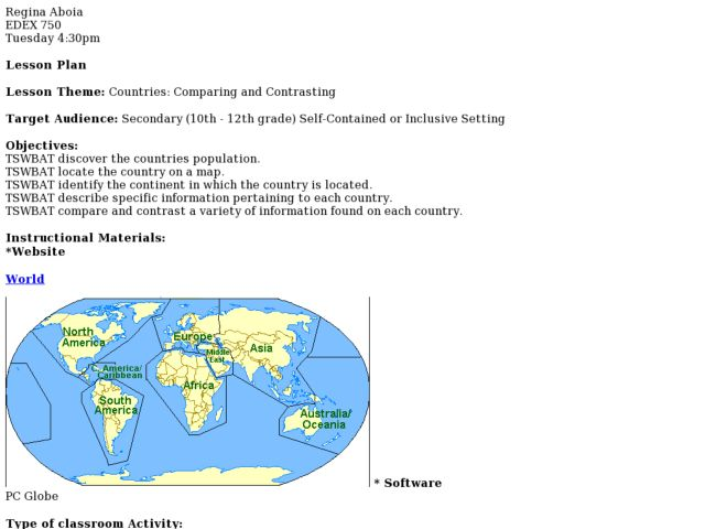 Countries: Comparing and Contrasting Lesson Plan