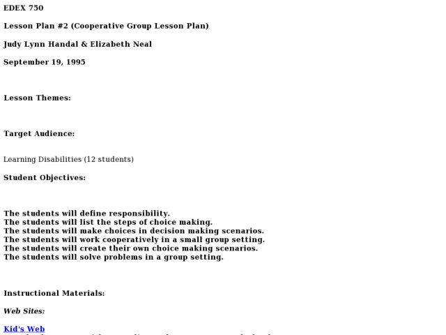 Lesson Plan #2 (Cooperative Group Lesson Plan) Lesson Plan