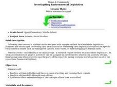 Investigating Environmental Legislation:  Write A Research Report Lesson Plan
