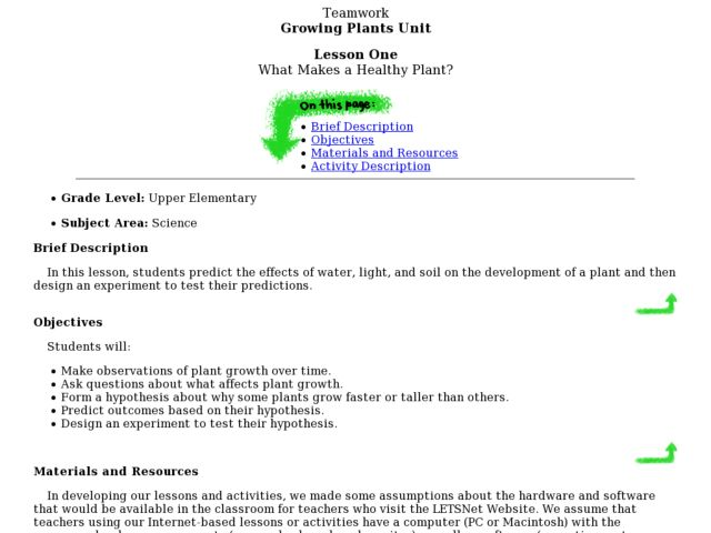 What Makes a Healthy Plant? Lesson Plan
