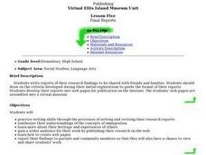 Virtual Ellis Island Museum Unit: Final Reports Lesson Plan