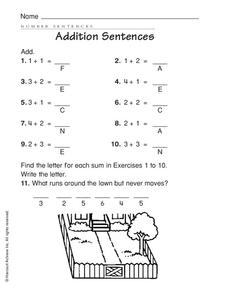 Addition Sentences Worksheet