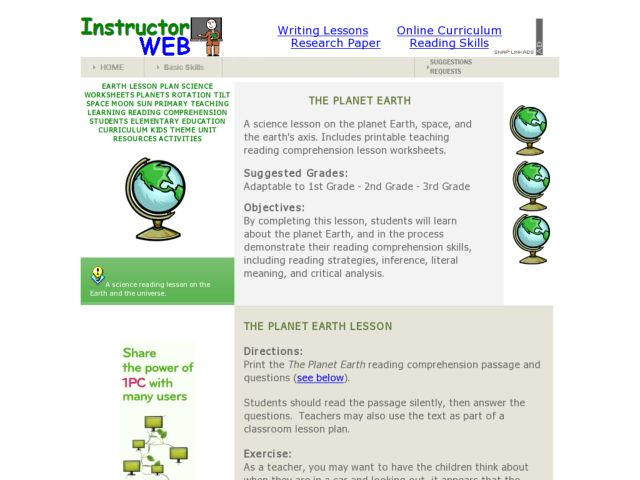 The Planet Earth Lesson Plan