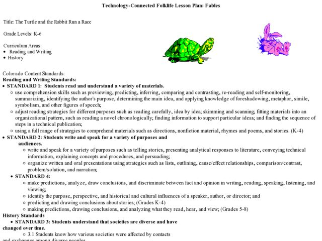 Technology-commected Folklife Lesson Plan: Fables Lesson Plan