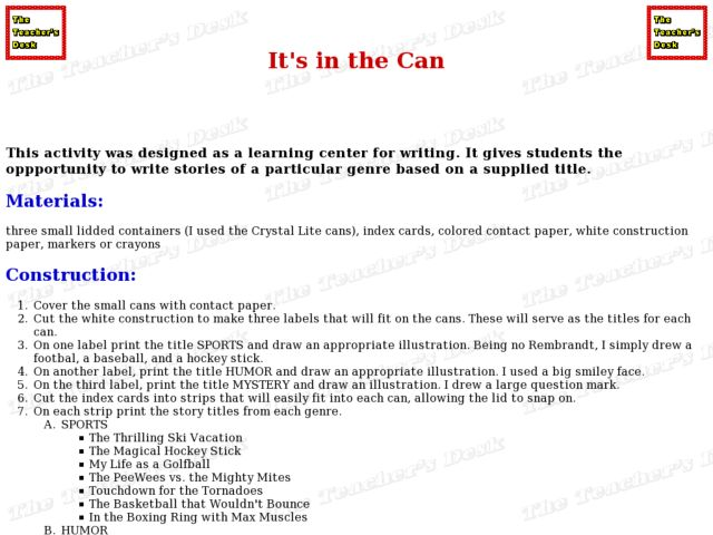 It's In the Can Lesson Plan