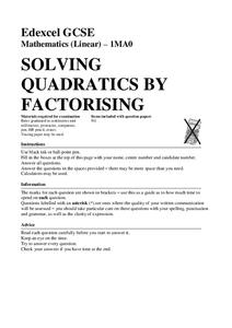 Solving Quadratics by Factorising Assessment