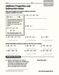 Addition Properties and Subtraction Rules 3 Worksheet for 3rd ...