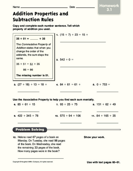 addition properties and subtraction rules worksheet for 3rd 4th grade lesson planet. Black Bedroom Furniture Sets. Home Design Ideas