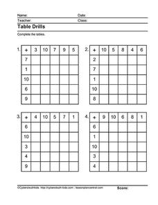 Addition Tables Worksheet