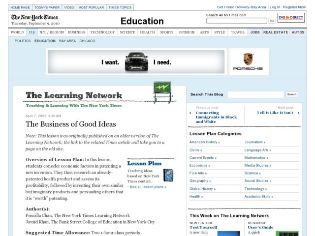 the Business of Good Ideas Lesson Plan