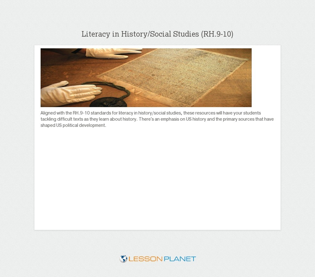 Literacy in History/Social Studies: 9-10th Grade ELA Common Core
