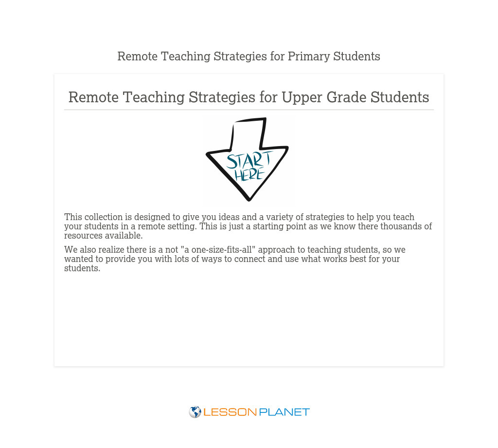 Remote Teaching Strategies Upper Elementary Grade Students