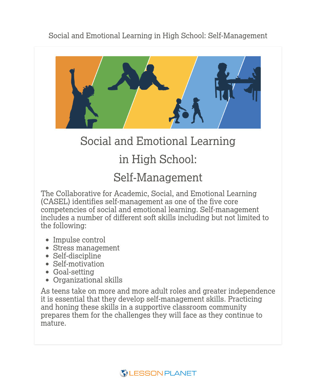 Social & Emotional Learning in High School: Self-Management